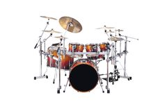Drums. Beautiful drumset isolated over white background Stock Image