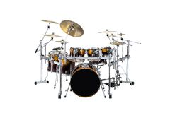 Drums. Beautiful drumset isolated over white background Royalty Free Stock Photo