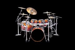 Drums. Beautiful drumset isolated over a black background Royalty Free Stock Images