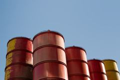 Drums. Collection of oil barrels Royalty Free Stock Photography