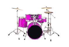 Drums. In fushia color isolated over white background Stock Photos
