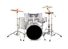 Drums. A from view from an acoustic white drums set isolated on white background stock images