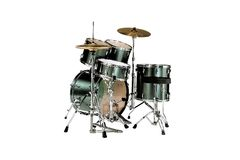Drums. A back view from a green drum kit isolated over white background with clipping path Stock Image