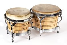Drums. Bongos drums percussion instruments on a white stock images