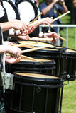 Drums. Drummers of a bag-pipe band at a bag-pipe competition in Germany Royalty Free Stock Photo