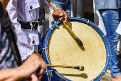 Drums being played in celebration. Of Brazilian folklore in honor of Saint Jorge Stock Photos