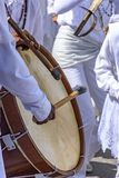 Drums being played in a religious and popular festival royalty free stock image