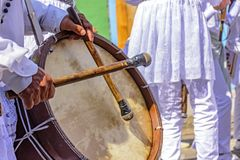Drums being played in a religious and popular festival stock photography