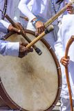 Drums being played in a religious and popular festival royalty free stock photos