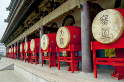 Drums in the Bell Tower in Xian Royalty Free Stock Images