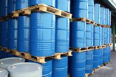 Drums for chemical liquids. Many Drums for chemical liquids stock photography