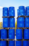 Drums of chemical production on a pallet in the storage of waste Royalty Free Stock Images