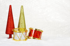 Drums and christmas trees Royalty Free Stock Images