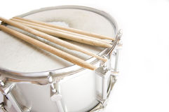 Drums conceptual image. Broken sticks lies on snare Royalty Free Stock Images