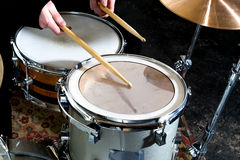 Drums conceptual image. Picture of drums and drumsticks lying on snare drum. instagram picture. Royalty Free Stock Photography