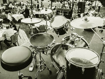 Drums in concert at restaurant black and white Royalty Free Stock Image