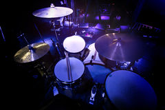 Drums and cymbals on stage. Stock Image