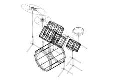 Drums 3D blueprint - isolated Royalty Free Stock Image