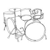 Drums doodle hand drawn sketch on white background. Bid drumset crash base on white backdrop. Freehand line black ink drawn object Stock Photos
