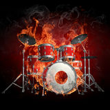 Drums in fire Stock Images