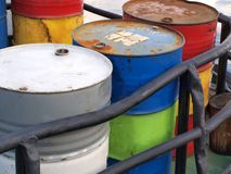 Drums with gasoline. Color photograph of steel drums with gasoline Royalty Free Stock Images