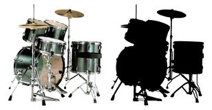 Drums Vector Illustration. In two versions - Color and BW Stock Image