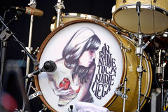Drums of Jero Romero (band) with a painting of Paula Bonet Royalty Free Stock Photo