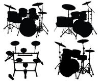 Drums kits. Set of vector silhouettes different drums kits Stock Images
