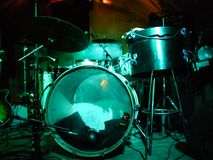 Drums In Lights. A drum set on stage in show lighting Stock Image
