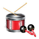 Drums and maracas. Drums with sticks and maracas isolated on white Stock Photos