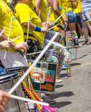 Drums marking the rhythm. Joy of carnival drums marking the rhythm of much color, feast, and ritimo Royalty Free Stock Photos