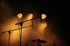 Drums and microphones on stage royalty free stock image