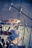 Drums and microphones Stock Photos