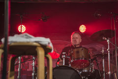 On drums Mike Hellier Stock Photo
