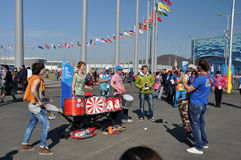 Drums musi�ians at XXII Winter Olympic Games Sochi Royalty Free Stock Images