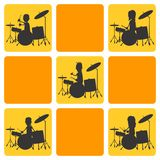 Drums music silhouette character Royalty Free Stock Images