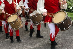 Drums and musicians with ancient medieval costumes during the pa. Rade in the village Festival Stock Image
