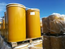 Drums on pallets and stored. Waiting to be export Stock Image