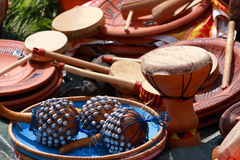 Drums and percussion. Drums, maraca and other percussion. Group of object Stock Photos