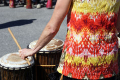 Drums played by women Royalty Free Stock Photos