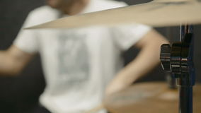 Drums Player. Drummer preforming on a drum set stock video footage