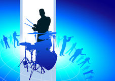 Drums Player with Musical Band Background Stock Image