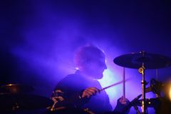Drummer on stage, the Prodigy, concert in Russia 2005 royalty free stock photography