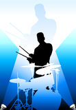 Drums players under the bright lights Royalty Free Stock Photography