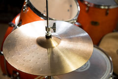 fragment of shiny bright hi-hat and Drums Royalty Free Stock Photo