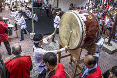 Drums in prosperity feast. Sao Paulo, Brazil, December 31, 2012. Drums make the opening of the traditional Japanese Feast of Prosperity Moti Tsuki made with rice stock photo