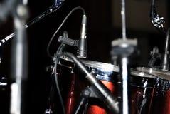 Drums set. Dark scene. Royalty Free Stock Photography