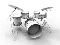 Drums set illustration. 3D render illustration of a set of drums. The composition is on a white background with shadows stock illustration