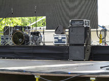 Drums set, powerfull speakers, amplifiers and stage equipment Stock Photography