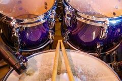 Drums set and sticks Stock Photos
